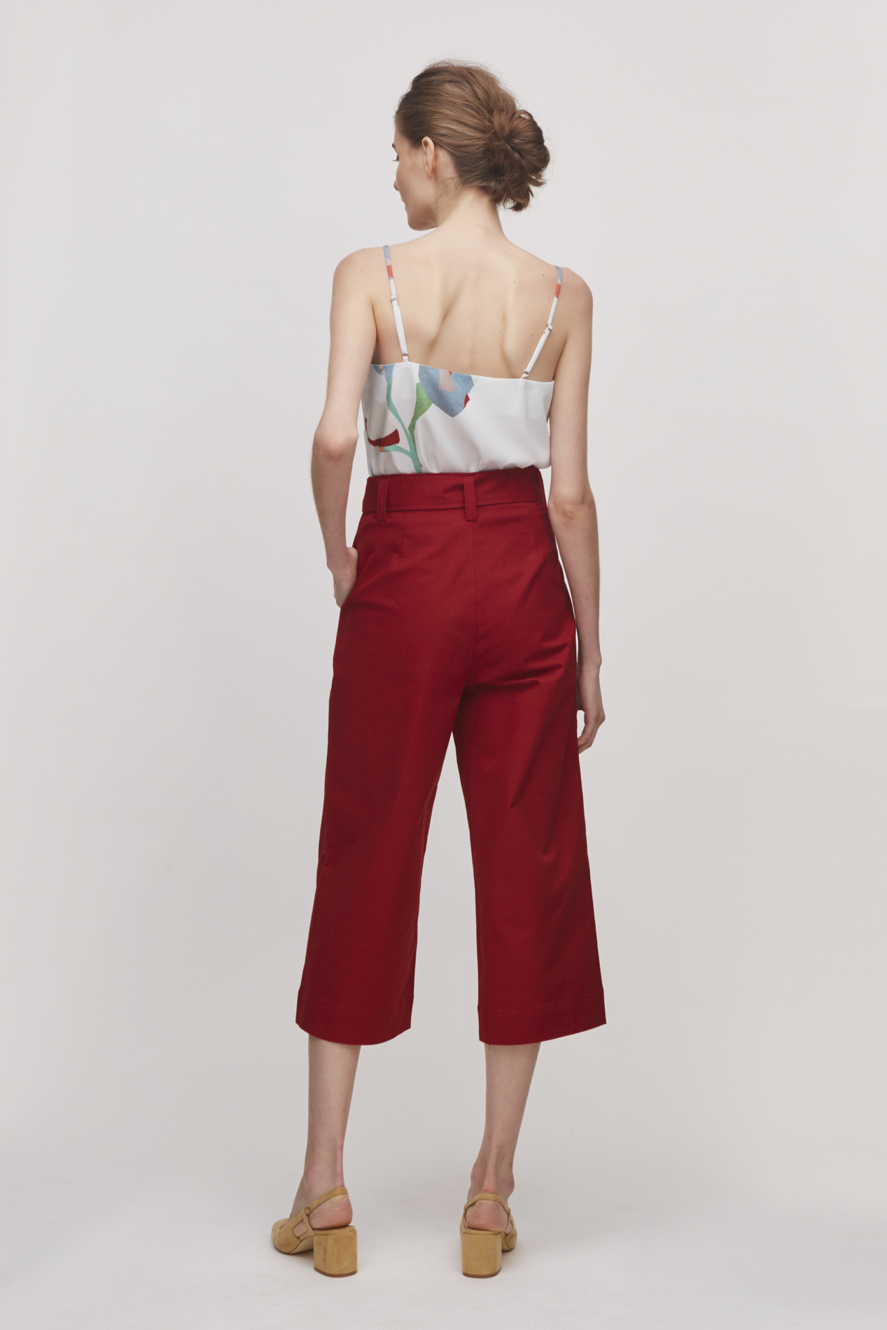 Cotton High-Waisted Pants