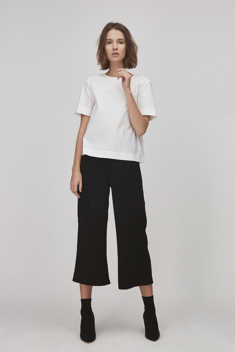 Crepe High-Waisted Pants